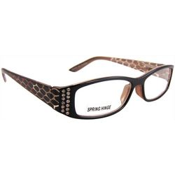 Bay Studio Womens Rhinestones & Snake Print Reading Glasses