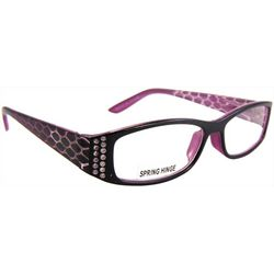 Womens Rhinestones & Snake Print Reading Glasses