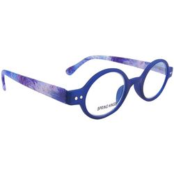 Bay Studio Womens Printed Blue Round Rim Reading Glasses