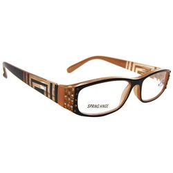 Bay Studio Womens Brown & Black Geometric  Reading Glasses