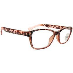 Bay Studio Womens Rose Pink & Brown Print Reading Glasses