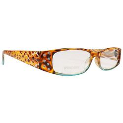 Infini Womens Teal Animal Print Reading Glasses
