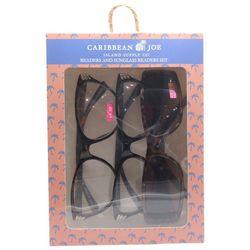 Caribbean Joe Womens Palms Sun & Reading Glasses Set
