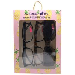Caribbean Joe Womens Pineapple Sun & Reading Glasses Set