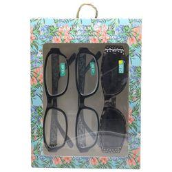 Caribbean Joe Womens Floral Sun & Reading Glasses Set