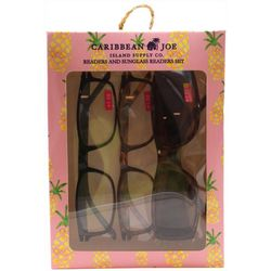 Caribbean Joe Womens Pineapple Sun & Reading Glasses Set