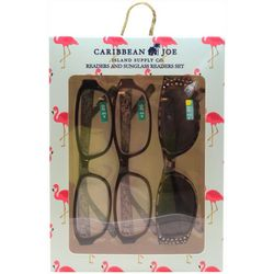 Caribbean Joe Womens Flamingo Sun & Reading Glasses Set