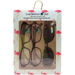 Caribbean Joe Womens Flamingo Sun & Reading Glasses Set