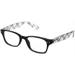 Optimum Womens Black & Clear Plaid Reading Glasses