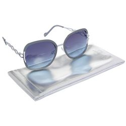 Jessica Simpson Womens Silver Tone Oversized Sunglasses