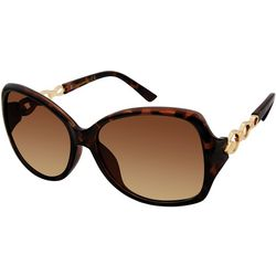 Southpole Womens Tortoise Rectangular Chain Sunglasses