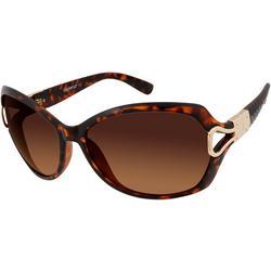 Womens Tortoise Brown & Gold Tone Sunglasses