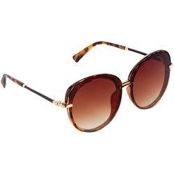 Tahari Womens Round Mixed Media Tortoiseshell Sunglasses