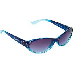 Unionbay Womens Thin Oval Turquoise Rhinestone Sunglasses