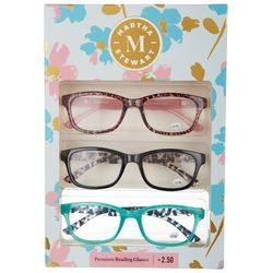 Martha Stewart Womens 3-pk.Tortoise Premium Reading Glasses