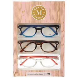Martha Stewart Womens 3-pk. Wayfarer Reading Glasses