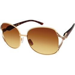 Jessica Simpson Womens Vented Gold Tone Sunglasses