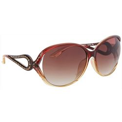 Southpole Womens Ombre Rhinestone Oval Sunglasses
