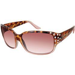 Unionbay Womens Animal Rhinestone Rectangular Sunglasses