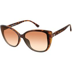 Southpole Womens Tortoise Brown Cat Eye Sunglasses
