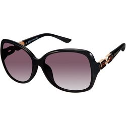 Southpole Womens Gold Tone Link Black Sunglasses