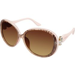 Unionbay Womens Nude Animal Print Round Sunglasses