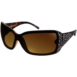 Unionbay Womens Rectangular Rhinestone Side Sunglasses