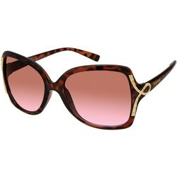 Unionbay Womens Rhinestone Embellished Brown Sunglasses