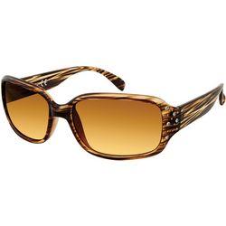 Unionbay Womens Striped Rectangular Rhinestone Sunglasses