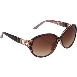 Womens Oval Tortoise Print Sunglasses