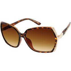 Southpole Womens Tortoise Brown Rhinestone Sunglasses