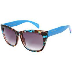 Betsey Johnson Womens Blue Rectangle Sunglasses