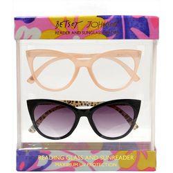 Betsey Johnson Womens 2-pk. Readers & Sun Reading Glasses
