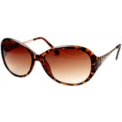 Betsey Johnson Womens Large Oval Tortoise Brown Sunglasses
