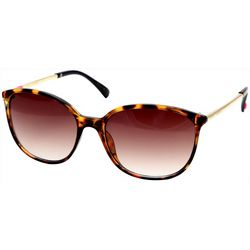 Betsey Johnson Womens Tortoise Brown Metal Temple Sunglasses