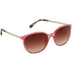 Betsey Johnson Womens Pink & Tortoise Round Sunglasses