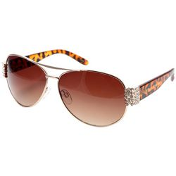 Betsey Johnson Womens Rhinestone Printed Aviator Sunglasses