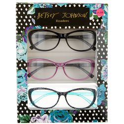 Betsey Johnson Womens 3-pk. Dots & Solid Reading Glasses