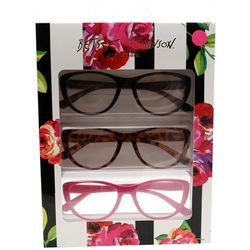 Betsey Johnson Womens 3-pk. Floral Stripe Reading Glasses