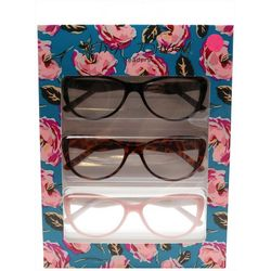 Betsey Johnson Womens 3-pk. Floral Reading Glasses