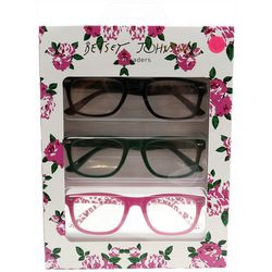 Betsey Johnson Womens 3-pk. Pink Floral Reading Glasses