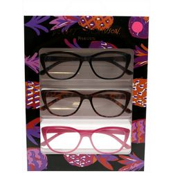 Betsey Johnson Womens 3-pk. Pineapple Reading Glasses