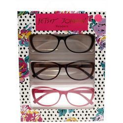Betsey Johnson Womens 3-pk. Mini Floral Dot Reading Glasses