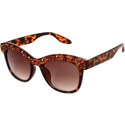Betsey Johnson Womens Rhinestones Tortoise Brown Sunglasses