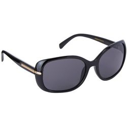 Betsey Johnson Womens Classic Black Rectangle Sunglasses