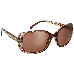 Betsey Johnson Womens Brown Leopard Rectangular Sunglasses