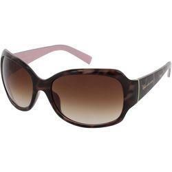 Jones New York Womens Tortoise Print Pink Wrap Sunglasses