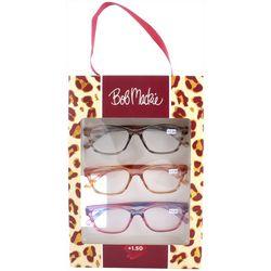 Bob Mackie Womens Leopard Reading Glasses 3 Pc. Set