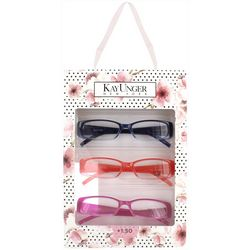 KAY UNGER Womens 3-pk. Crystal Plastic Reading Glasses