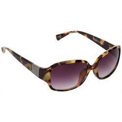Womens Tortoise Rectangle Sunglasses